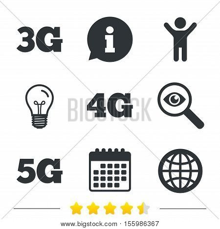Mobile telecommunications icons. 3G, 4G and 5G technology symbols. World globe sign. Information, light bulb and calendar icons. Investigate magnifier. Vector