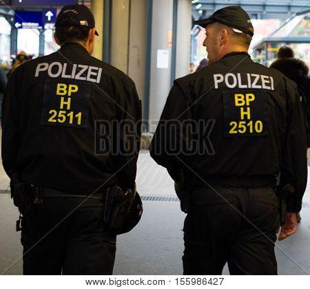 Hamburg, Germany - November 04, 2016: Policemen patrolling in Hamburg railway station