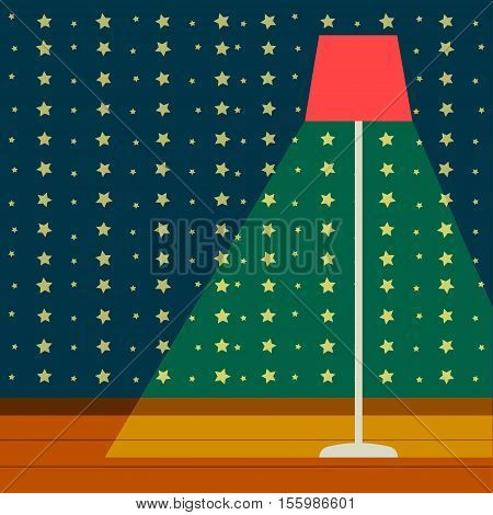 Floor lamp Vector illustration Floor lamp is shining in the nursery room with wallpaper decorated with stars