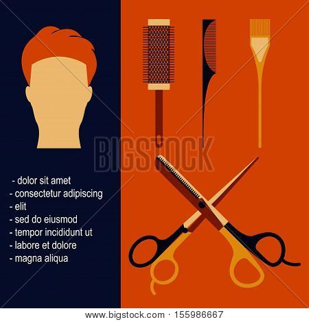 Beauty salon tools Vector illustration Poster with beauty salon tools and man with hipster hairstyle in flat design Scissors, hair straighteners, combs and hair brushes