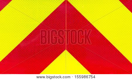 Yellow And Red Retroreflective Panel On A Fire Truck