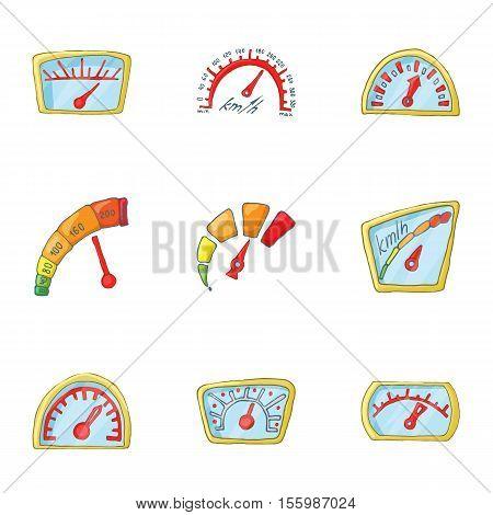 Speedometer icons set. Cartoon illustration of 9 speedometer vector icons for web