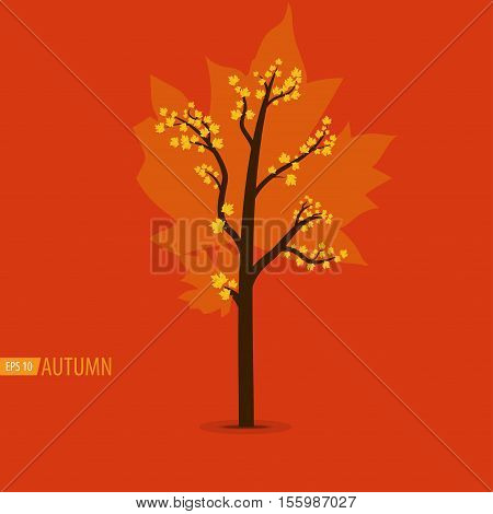 Fall tree. Vector illustration in flat style isolated from the background