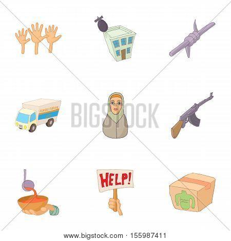 Refugee status icons set. Cartoon illustration of 9 refugee status vector icons for web