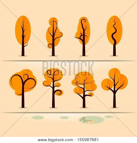 Set of autumn trees made in fashion design. Vector illustration in flat style isolated from the background