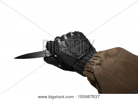Isolated first person view soldier hand in black battle gloves & tactical jacket holding knife ready for defense.