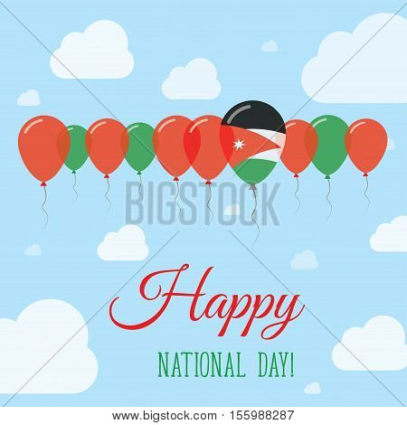 Jordan National Day Flat Patriotic Poster. Row Of Balloons In Colors Of The Jordanian Flag. Happy Na