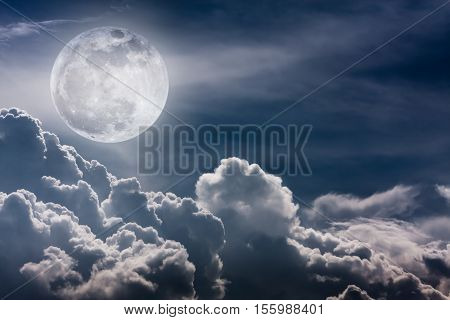 Nighttime Sky With Clouds And Bright Full Moon With Shiny.  Vintage Effect Tone.