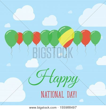 Congo National Day Flat Patriotic Poster. Row Of Balloons In Colors Of The Congolese Flag. Happy Nat