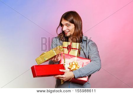 Guy With Many Presents Gift Boxes