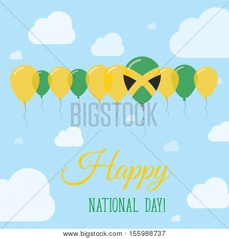 Jamaica National Day Flat Patriotic Poster. Row Of Balloons In Colors Of The Jamaican Flag. Happy Na