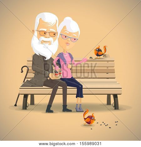 Grandparents feed the birds on the bench Happy Grandparents day Vector illustration in flat cartoon style isolated from the background
