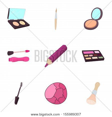 Makeup icons set. Cartoon illustration of 9 makeup vector icons for web