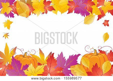Thanksgiving Holiday background. Fall leaves and pumpkin frame. Vector illustration.