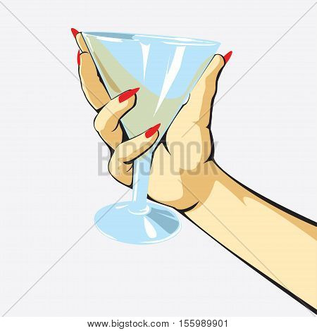 glass hand Vector illustration in cartoon style isolated from the background