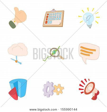 Statistical evidence icons set. Cartoon illustration of 9 statistical evidence vector icons for web