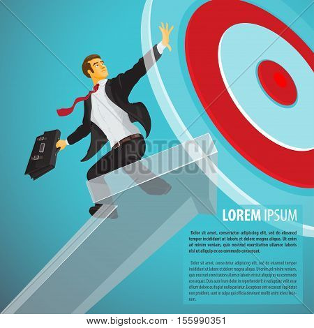 Successful businessman riding a pointer flies right on target. Vector illustration in flat cartoon style isolated from the background