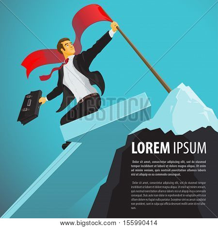 Lucky businessman sets a flag on a mountain top. A person achieves excellent results. A man with a briefcase reaches the desired goal. Vector illustration in flat cartoon style isolated from the background