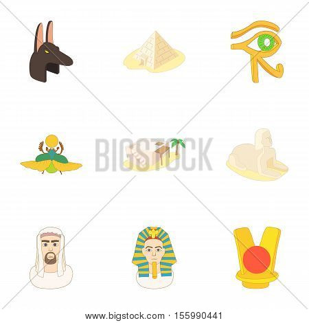 Egypt icons set. Cartoon illustration of 9 Egypt vector icons for web