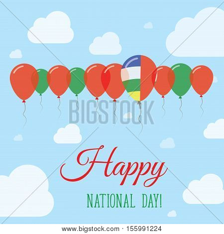 Central African Republic National Day Flat Patriotic Poster. Row Of Balloons In Colors Of The Centra