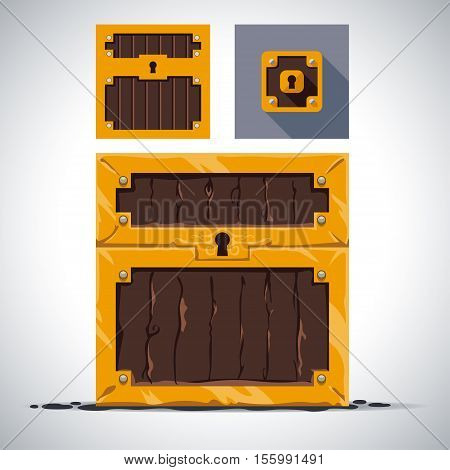 A set of wooden chests and flat cartoon style transformation detailed in the chest icon illustrations vector isolated from the background