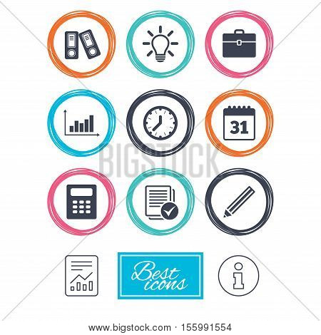 Office, documents and business icons. Accounting, calculator and case signs. Ideas, calendar and statistics symbols. Report document, information icons. Vector