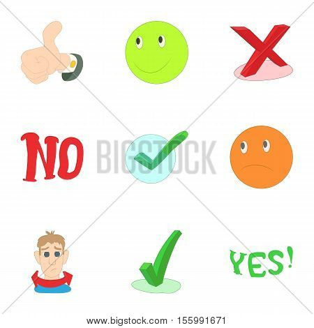 Yes no button icons set. Cartoon illustration of 9 yes no button vector icons for web