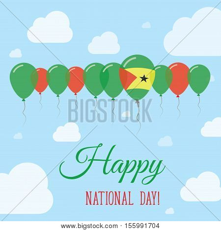 Sao Tome And Principe National Day Flat Patriotic Poster. Row Of Balloons In Colors Of The Sao Tomea