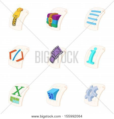 Kind of files icons set. Cartoon illustration of 9 kind of files vector icons for web