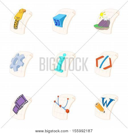 Documents icons set. Cartoon illustration of 9 documents vector icons for web