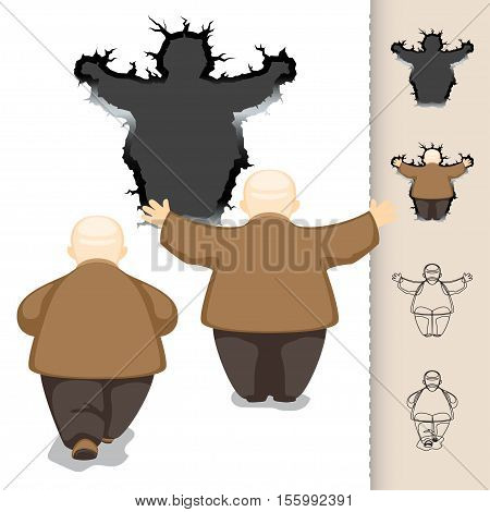 The old man made a hole in the wall vector illustration in cartoon style set for animation