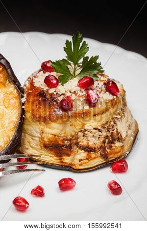 Eggplant Zuccotto Decorated With Pomegranate