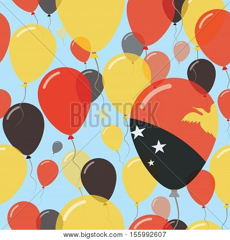Papua New Guinea National Day Flat Seamless Pattern. Flying Celebration Balloons In Colors Of Papua