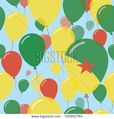 French Guiana National Day Flat Seamless Pattern. Flying Celebration Balloons In Colors Of French Gu