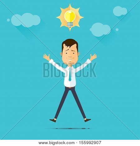 Business man and idea lemp idea concept. vector illustration in flat style isolated from the background