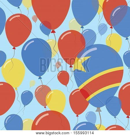 Congo, The Democratic Republic Of The National Day Flat Seamless Pattern. Flying Celebration Balloon