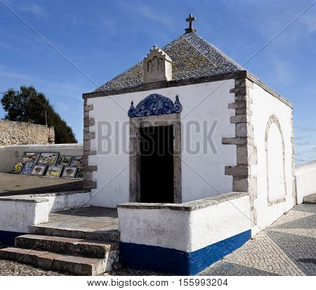 View of the Memoria Hermitage a 12th century old small chapel located on the hilltop O Sitio overlooking Nazare Portugal