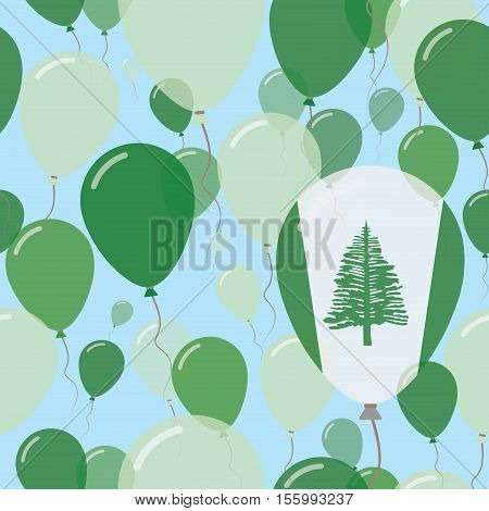 Norfolk Island National Day Flat Seamless Pattern. Flying Celebration Balloons In Colors Of Norfolk