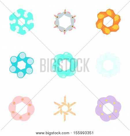 Types of artificial flowers icons set. Cartoon illustration of 9 types of artificial flowers vector icons for web
