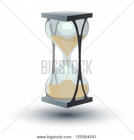 True transparent sand hourglass isolated on white background. Simple and elegant sand-glass timer.