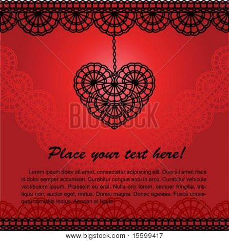 vector romantic card with lace heart