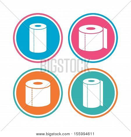 Toilet paper icons. Kitchen roll towel symbols. WC paper signs. Colored circle buttons. Vector