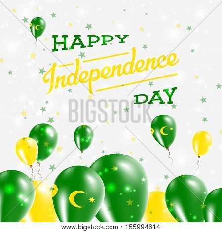 Cocos (keeling) Islands Independence Day Patriotic Design. Balloons In National Colors Of The Countr