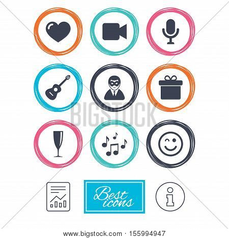 Party celebration, birthday icons. Carnival, guitar and champagne glass signs. Gift box, music and video camera symbols. Report document, information icons. Vector