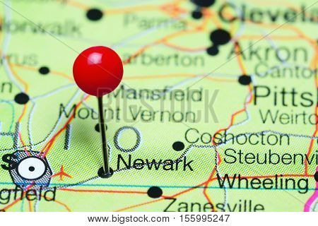 Newark pinned on a map of Ohio, USA