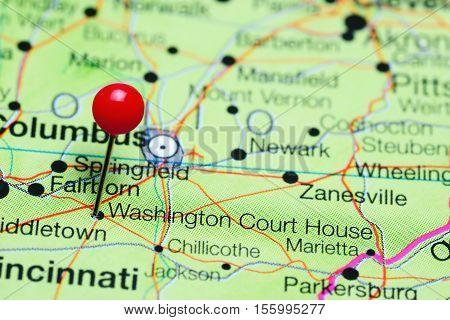 Washington Court House pinned on a map of Ohio, USA