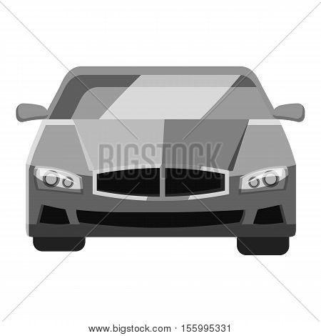 Car front view icon. Gray monochrome illustration of car vector icon for web design