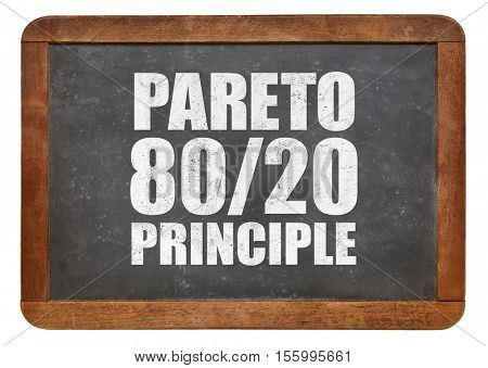 Pareto principle or eighty-twenty rule - white chalk text on a vintage blackboard blackboard