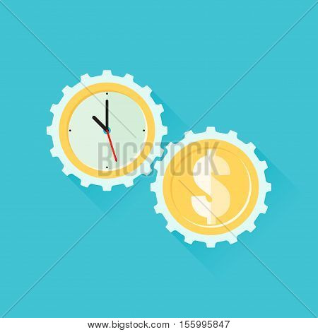 Gears time is money. Vector illustration in flat style isolated from the background
