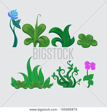 grass and flower set of vector patterns collection of blooming green natural original plants
